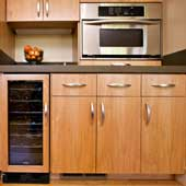 Green Kitchen Cabinets built with FSC Forestry Stewardship Council Wood Products and PureBond by Columbia Forest Products